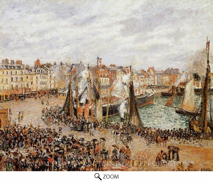 Painting Reproduction of The Fishmarket, Dieppe: Grey Weather, Morning, Camille Pissarro