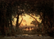 The Forest of Fontainebleau Morning painting reproduction, Theodore Rousseau