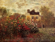 The Garden at Argenteuil (The Dahlias) painting reproduction, Claude Monet
