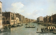 The Grand Canal Looking Down to the Rialto Bridge painting reproduction, Canaletto