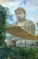The Great Statue of Amida Buddha at Kamakura, Known as the Daibutsu, from the Priest's Garden painting reproduction, John La Farge