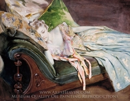 The Green Cushion painting reproduction, Irving Ramsey Wiles