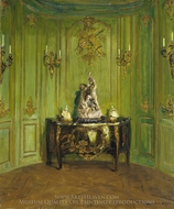 The Green Salon painting reproduction, Walter Gay