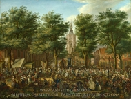 The Grote Market at The Hague painting reproduction, Paulus Constantijn La Fargue