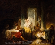 The Happy Mother painting reproduction, Jean-Honore Fragonard