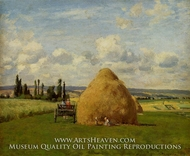The Haystack, Pontoise painting reproduction, Camille Pissarro