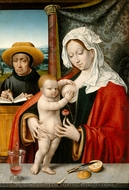 The Holy Family painting reproduction, Joos Van Cleve