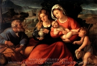 The Holy Family with Mary Magdalene and the Infant Saint John painting reproduction, Palma Vecchio
