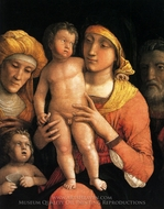 The Holy Family with Saint Elizabeth and the Infant John the Baptist painting reproduction, Andrea Mantegna