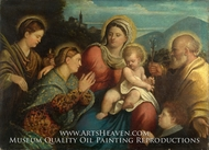 The Holy Family with Saints and a Donor painting reproduction, Giovanni Cariani