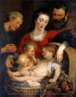 The Holy Family with St. Elizabeth (Madonna of the Basket) painting reproduction, Peter Paul Rubens