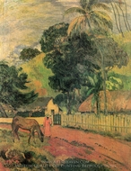 The Horse on the Way painting reproduction, Paul Gauguin