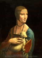 The Lady with an Ermine painting reproduction, Leonardo Da Vinci