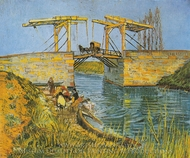 The Langlois Bridge at Arles with Women Washing painting reproduction, Vincent Van Gogh