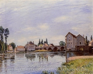 The Loing Flowing under the Moret Bridge painting reproduction, Alfred Sisley