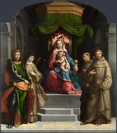 The Madonna and Child Enthroned with Saints painting reproduction, Garofalo