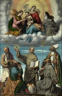 The Madonna and Child with Saints painting reproduction, Moretto Da Brescia