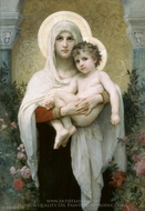 The Madonna of the Roses (La Madone aux Roses) painting reproduction, William Adolphe Bouguereau