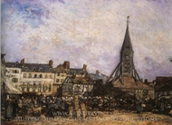 The Market at the Sainte-Catherine, Honfleur painting reproduction, Johan-Barthold Jongkind