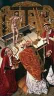 The Mass of Saint Gregory painting reproduction, Diego de la Cruz
