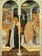 The Miraculous Communion of Saint Catherine of Siena painting reproduction, Giovanni Di Paolo