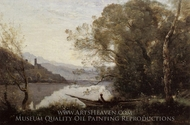 The Moored Boat painting reproduction, Jean-Baptiste Camille Corot