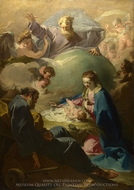 The Nativity with God the Father and the Holy Ghost painting reproduction, Giovanni Battista Pittoni