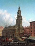 The North Dutch Church, Fulton and William Streets, New York by Edward Lamson Henry