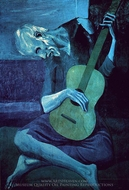 The Old Guitarist painting reproduction, Pablo Picasso (inspired by)