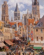 The Old Market and the Rue de l'Epicerie in Rouen by Camille Pissarro