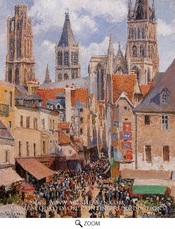 Painting Reproduction of The Old Market and the Rue de l'Epicerie in Rouen, Camille Pissarro