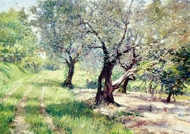 The Olive Grove painting reproduction, William Merritt Chase