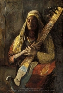 The Oriental Lute Player painting reproduction, Tornai Gyula