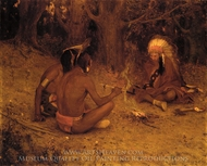 The Peace Pipe painting reproduction, Eanger Irving Couse