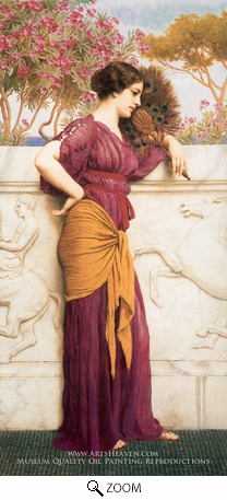 Painting Reproduction of The Peacock Fan, John William Godward