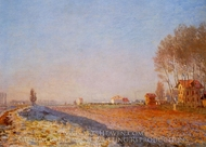 The Plain of Colombes, White Frost painting reproduction, Claude Monet