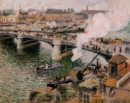 The Pont Boieldieu, Rouen: Damp Weather painting reproduction, Camille Pissarro