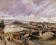 The Pont Boieldieu, Rouen: Rain Effect by Camille Pissarro