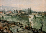 The Pont Corneille, Rouen: Grey Weather painting reproduction, Camille Pissarro