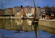 The Port of Honfleur at Night painting reproduction, Felix Vallotton
