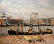 The Port of Rouen: Unloading Wood painting reproduction, Camille Pissarro