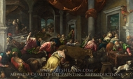 The Purification of the Temple painting reproduction, Jacopo Bassano