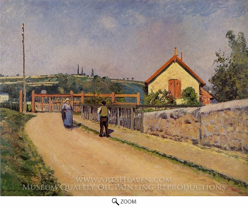 Painting Reproduction of The Railroad Crossing at Les Patis, Camille Pissarro