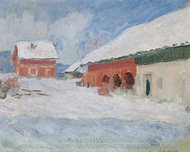 The Red Houses at Bjornegaard, Norway painting reproduction, Claude Monet