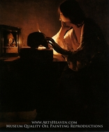 The Repentant Magdalen painting reproduction, Georges De La Tour
