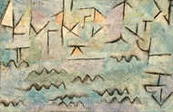The Rhine at Duisburg painting reproduction, Paul Klee