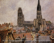 The Roofs of Old Rouen: Grey Weather by Camille Pissarro