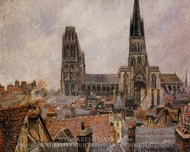 The Roofs of Old Rouen: Grey Weather painting reproduction, Camille Pissarro