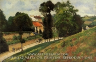 The Saint-Antoine Road at l'Hermitage, Pontoise painting reproduction, Camille Pissarro