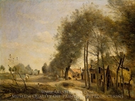 The Sin-le-Noble Road near Douai painting reproduction, Jean-Baptiste Camille Corot